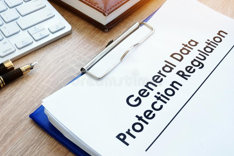 Document General Data Protection Regulation GDPR on a desk. Document General Data Protection Regulation GDPR on an office desk stock photography