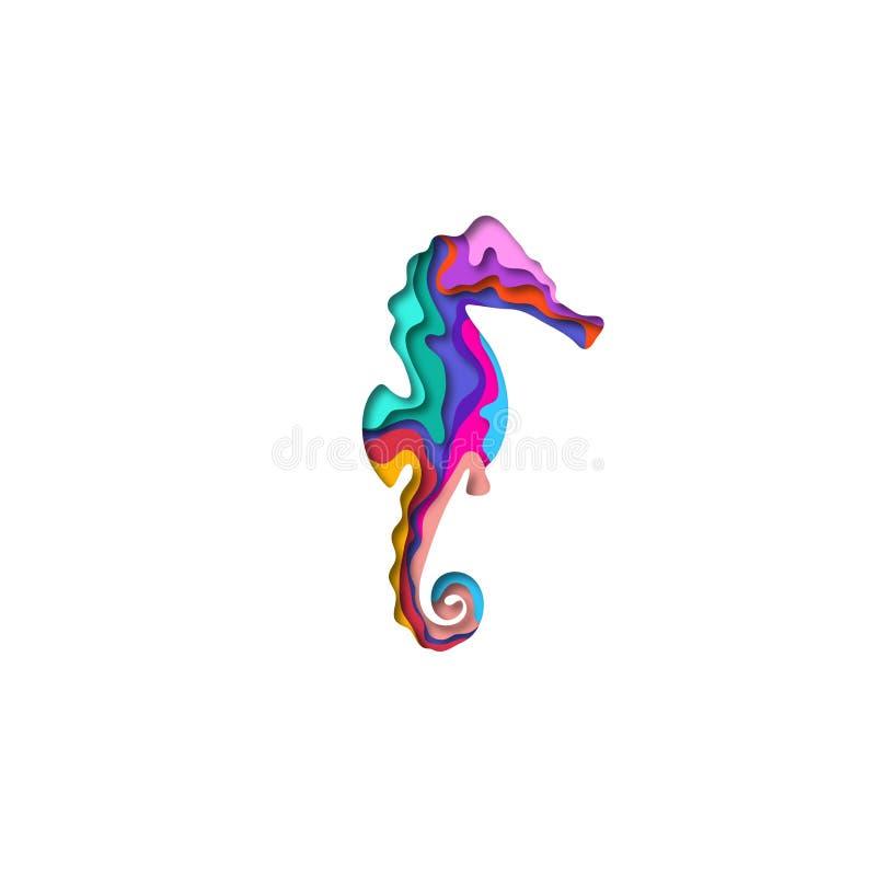 Document gesneden seahorse vorm 3D origami Het in ontwerp van de conceptenmanier Vector illustratie vector illustratie