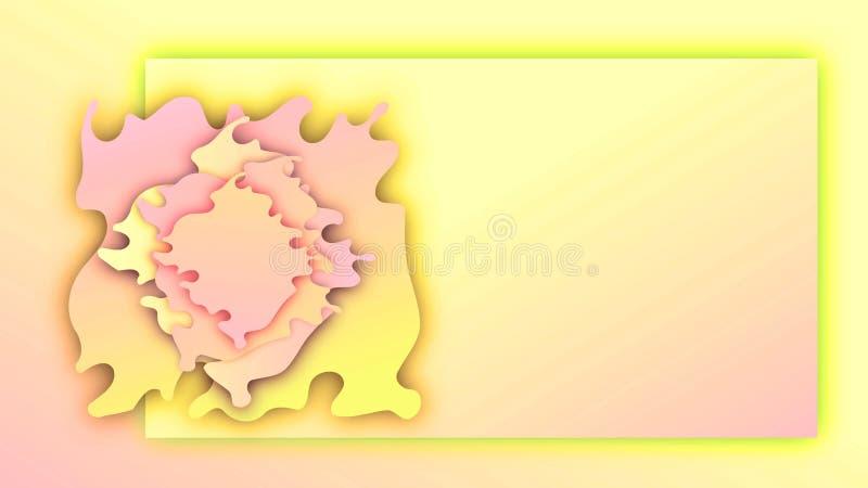 Document golvenbloem Roze en gele de bannerachtergrond van de de zomergradiënt vector illustratie