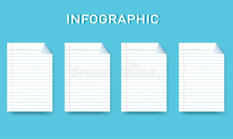 Document grafische Vectormalplaatje van de lijn het vierkante informatie met 4 opties vector illustratie