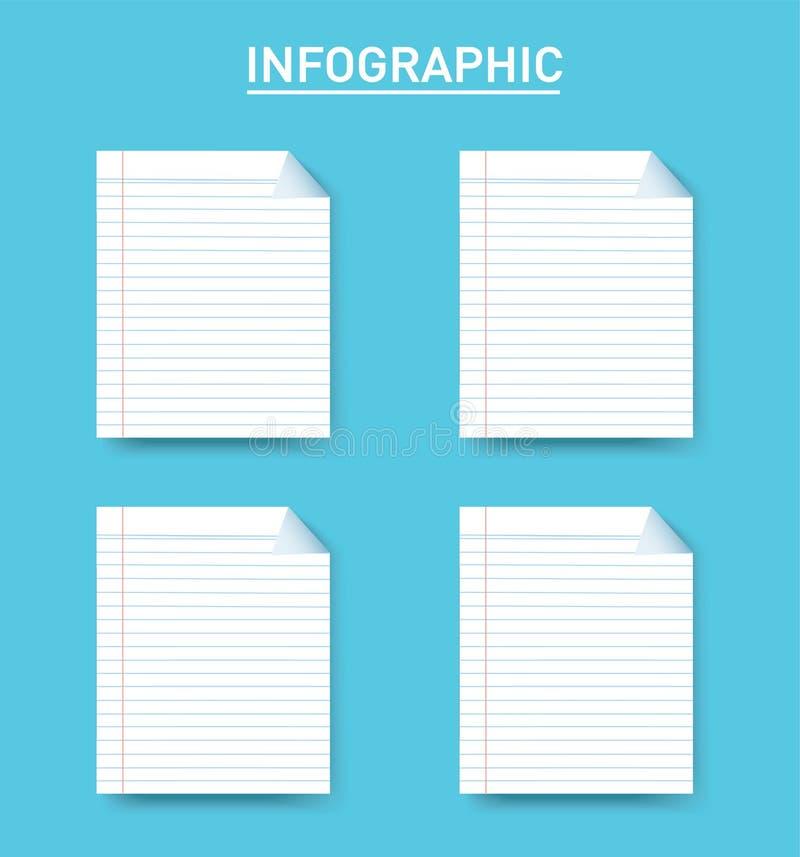 Document grafische Vectormalplaatje van de lijn het vierkante informatie met 4 opties Kan voor Web, diagram, grafiek, presentatie royalty-vrije illustratie