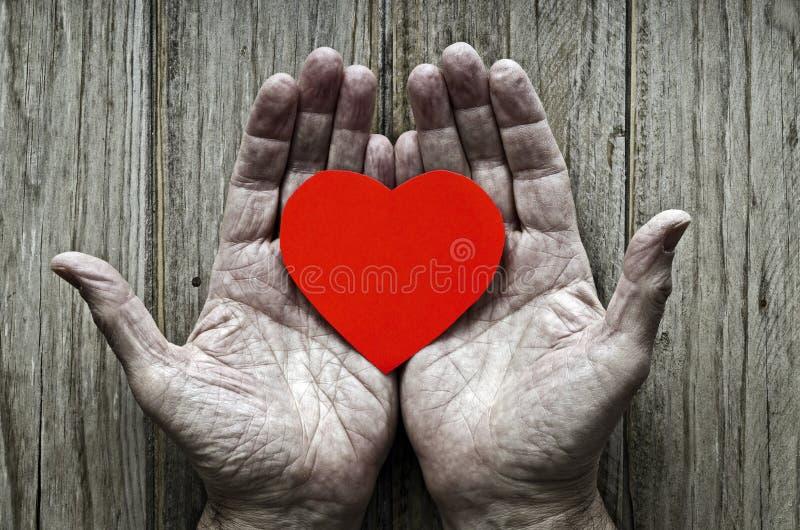 Document hart in de handen van bejaarden royalty-vrije stock afbeeldingen