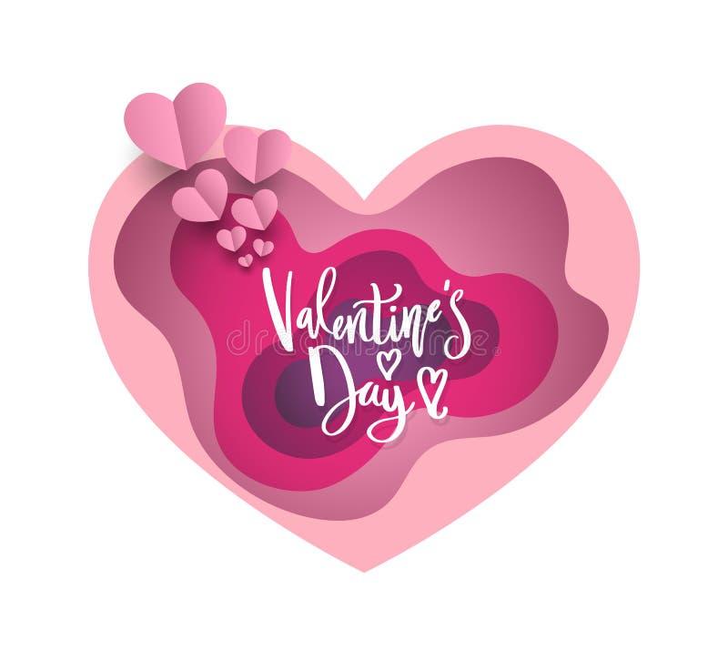 Document hart en de dag het van letters voorzien van Valentine vector illustratie