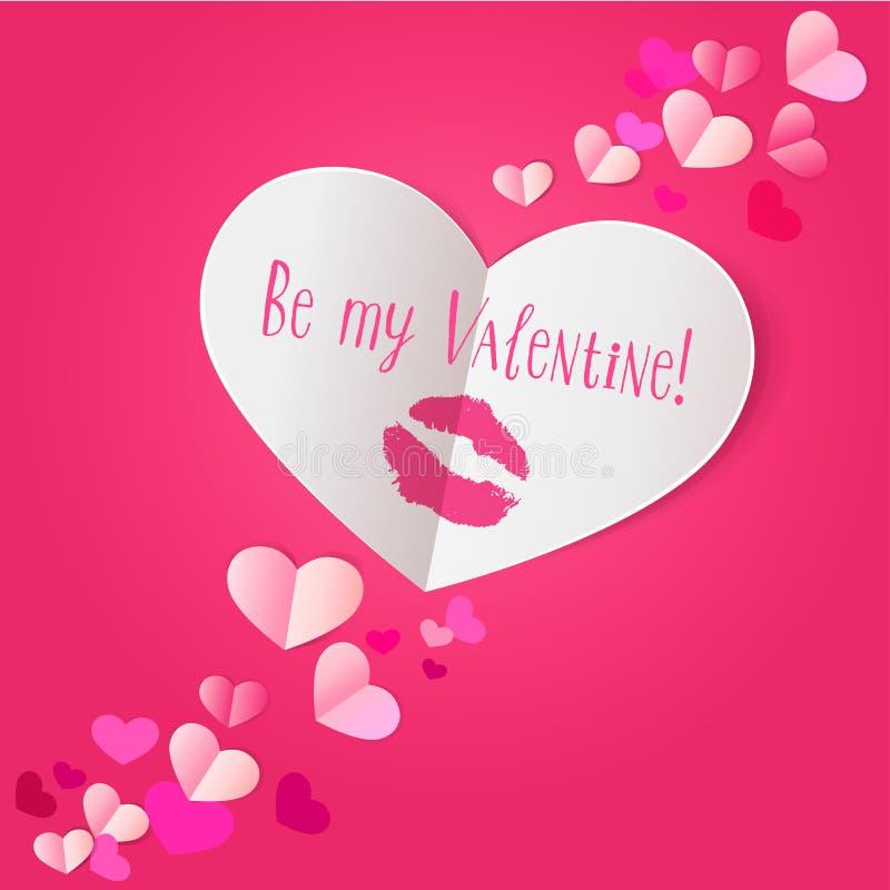 Document hart met de druk van de lippenstiftkus op donkere roze achtergrond vector illustratie