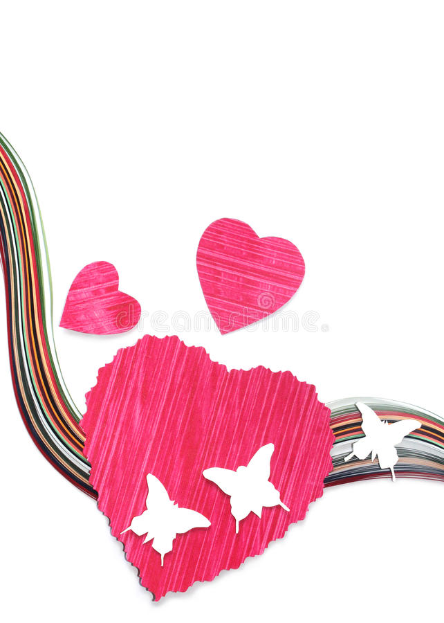 Document harten met vlinders stock afbeeldingen