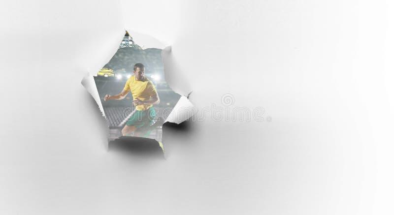 Document het effect en de voetballer van het doorbraakgat Gemengde media royalty-vrije stock fotografie