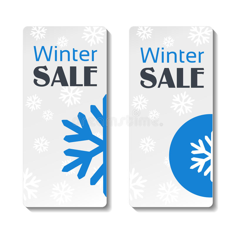 Document het etiket van de de winterverkoop, witte sticker met blauwe sneeuwvlok vector illustratie