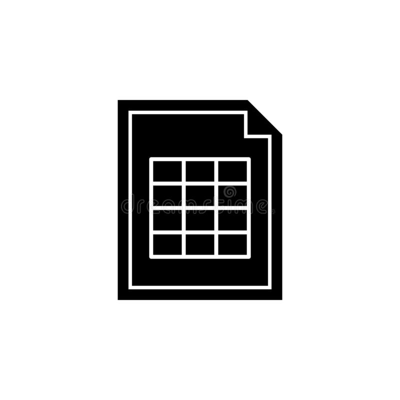 Document, het pictogram van de spreadsheetlijst De tekens en de symbolen kunnen voor Web, embleem, mobiele toepassing, UI, UX wor vector illustratie