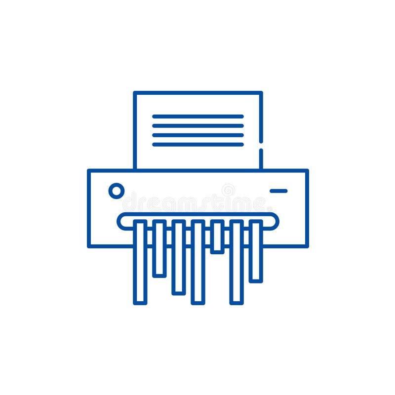 Document het pictogramconcept van de ontvezelmachinelijn Document ontvezelmachine vlak vectorsymbool, teken, overzichtsillustrati royalty-vrije illustratie