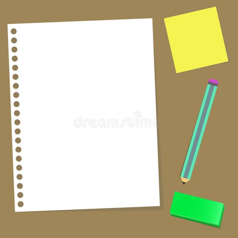 Document het rubber van het notapotlood royalty-vrije stock afbeelding