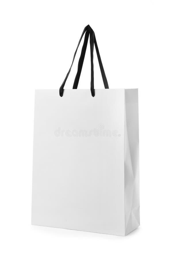 Document het winkelen zak met handvatten op witte achtergrond royalty-vrije stock foto's