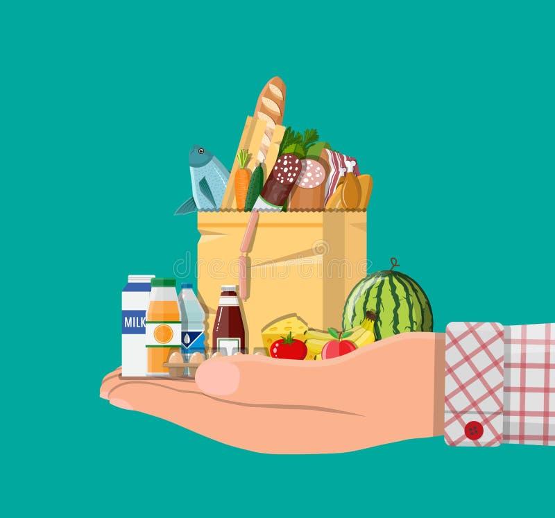 Document het winkelen zakhoogtepunt van kruidenierswinkelsproducten stock illustratie