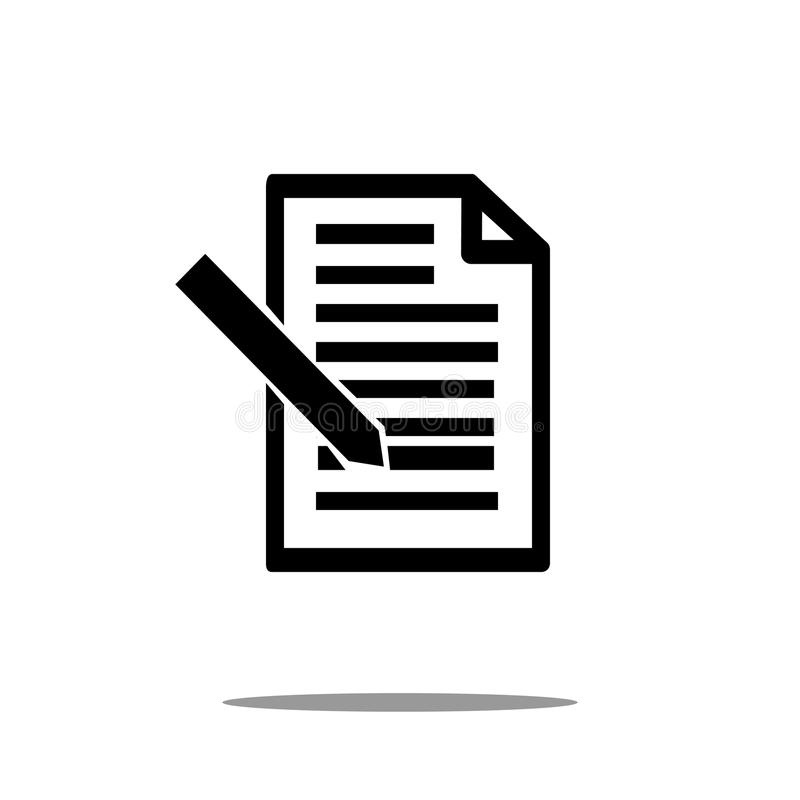 Document icon with pen in trendy flat style isolated on background. page symbol for your web site design Document icon royalty free illustration