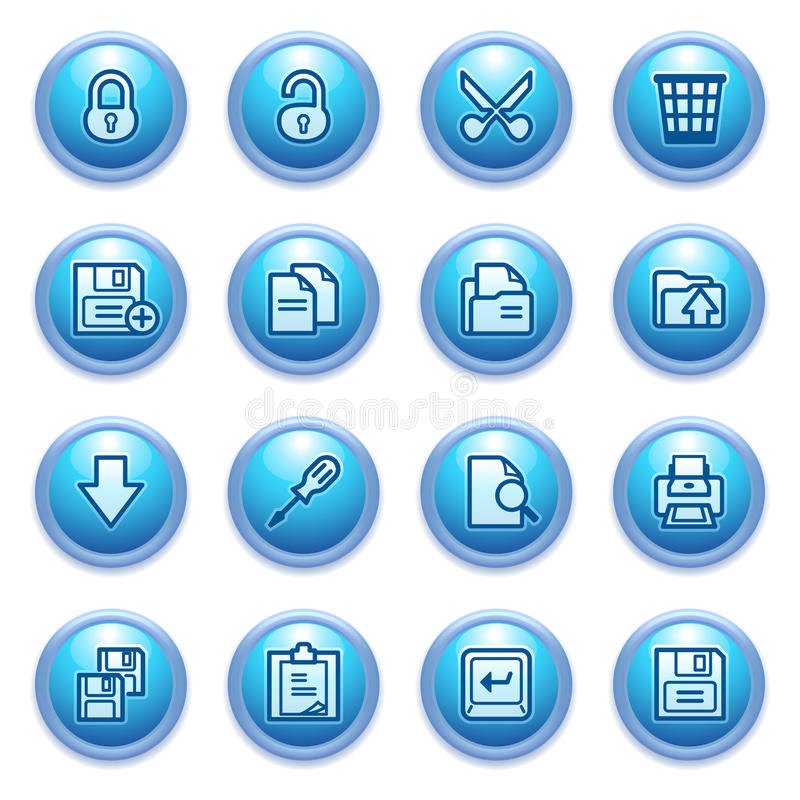 Free Document Icons On Blue Buttons, Set 1. Royalty Free Stock Photo - 26378435