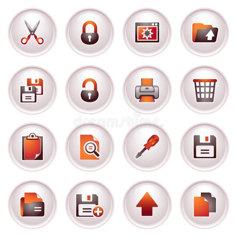 Free Document Icons, Set 1. Black Red Series. Stock Photos - 24848833