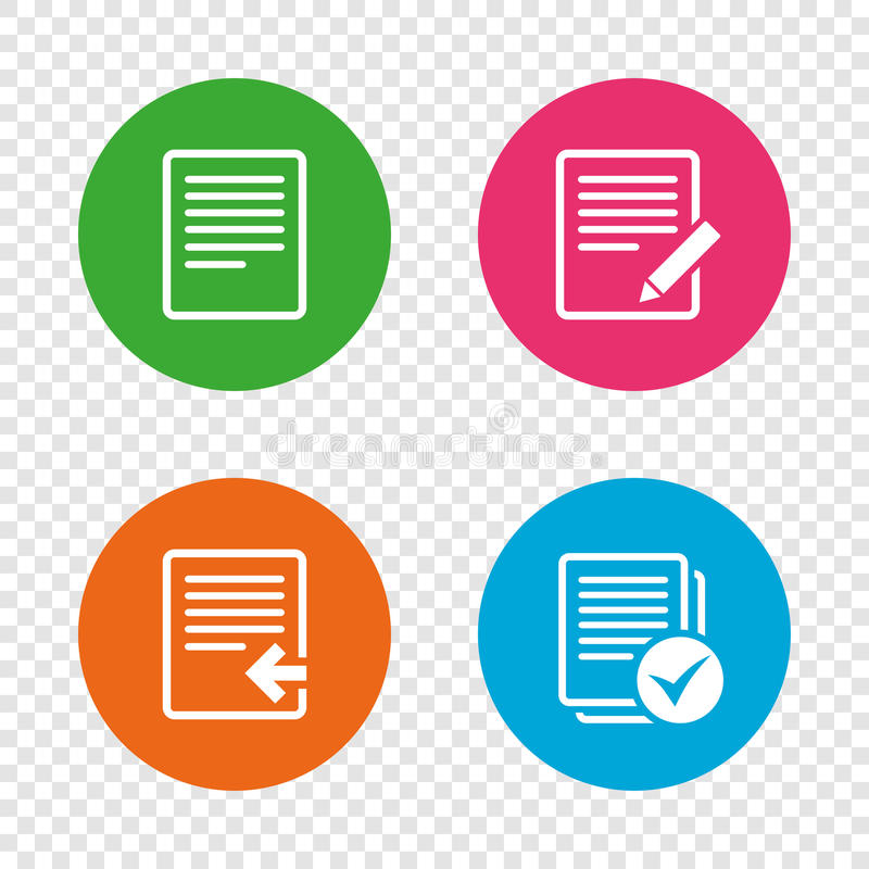 Document icons. Upload file and checkbox. File document icons. Upload file symbol. Edit content with pencil sign. Select file with checkbox. Round buttons on stock illustration