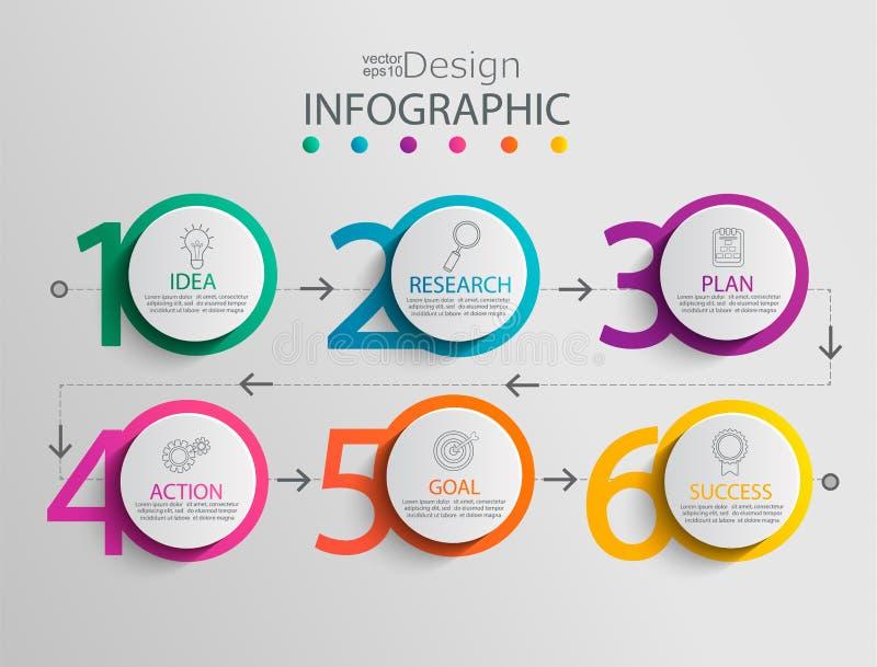 Document infographic malplaatje met 6 cirkelopties royalty-vrije illustratie