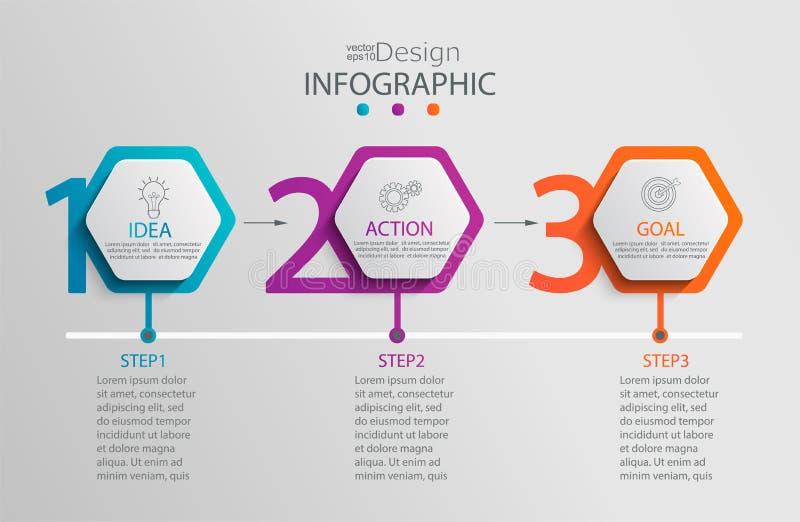 Document infographic malplaatje met 3 hexagon opties royalty-vrije illustratie