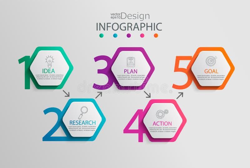 Document infographic malplaatje met 5 hexagon opties royalty-vrije illustratie