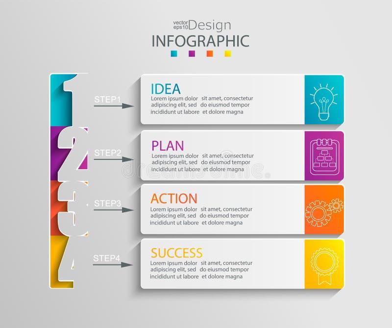 Document infographic malplaatje met 4 opties royalty-vrije illustratie