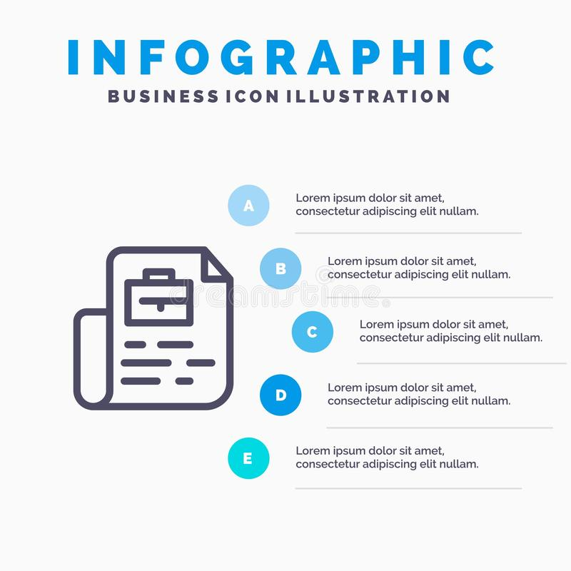 Document, Job, File, Bag Line icon with 5 steps presentation infographics Background royalty free illustration