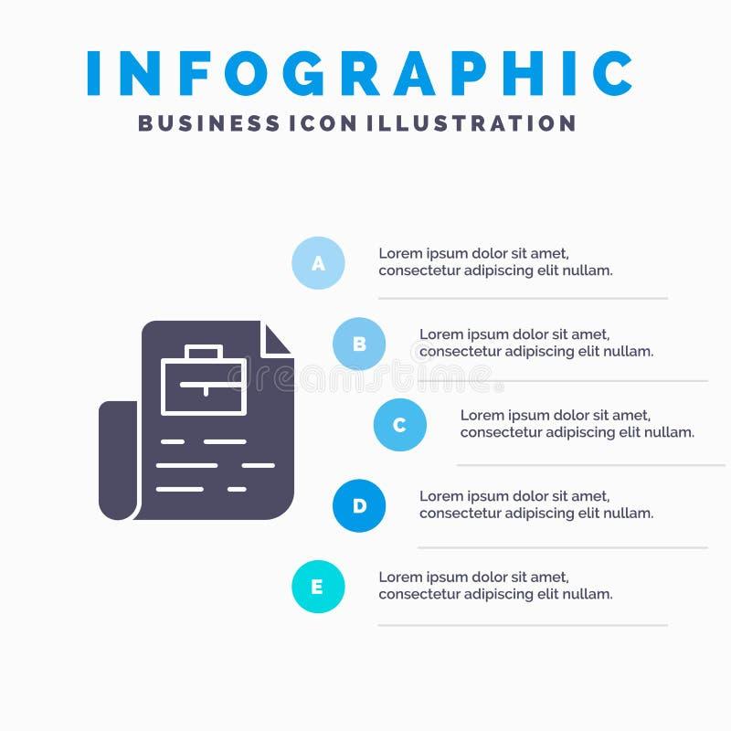 Document, Job, File, Bag Solid Icon Infographics 5 Steps Presentation Background royalty free illustration