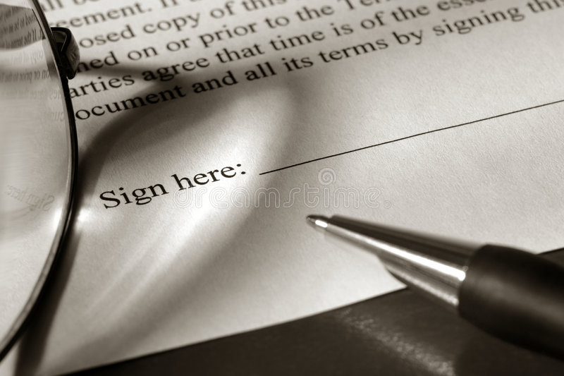 Document juridique à signer photo libre de droits
