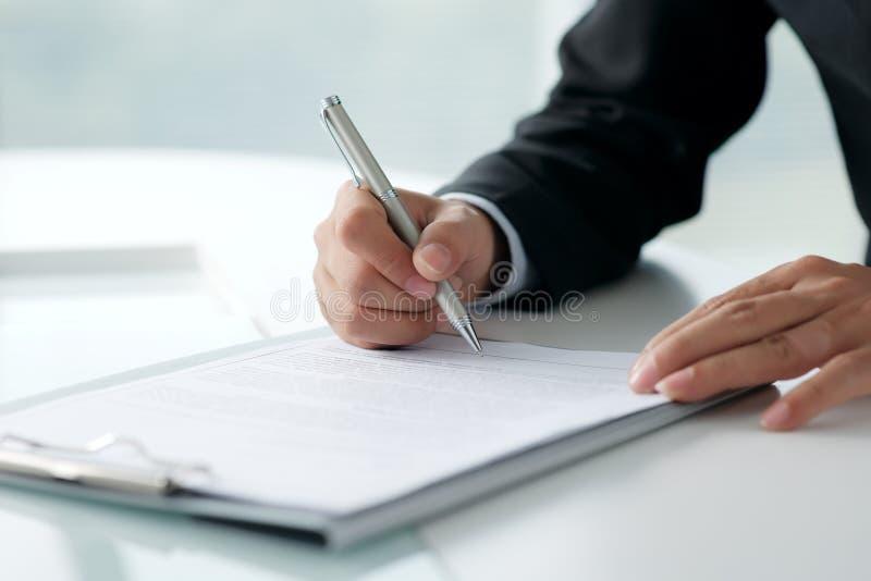 Document juridique de signature photo stock