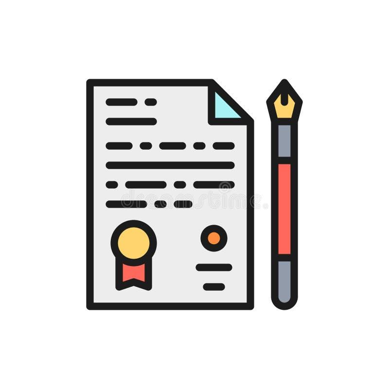Document juridique vectoriel, accord, fichier, icône de ligne de couleur plat de l'application illustration libre de droits