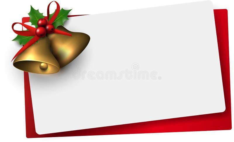 Document kaart met gouden Kerstmisklokken stock illustratie