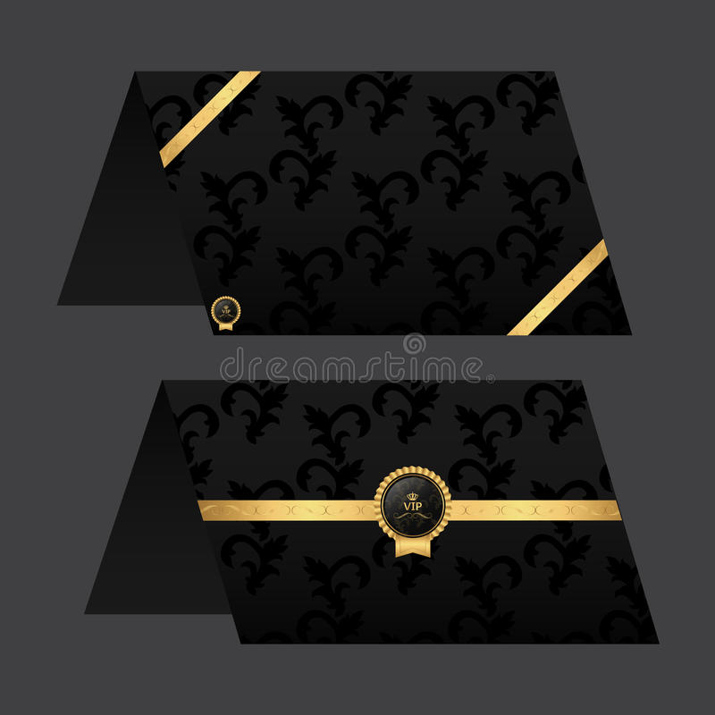 Document Kaartmenu Zwarte met gouden kleur Ornament en markering stock foto