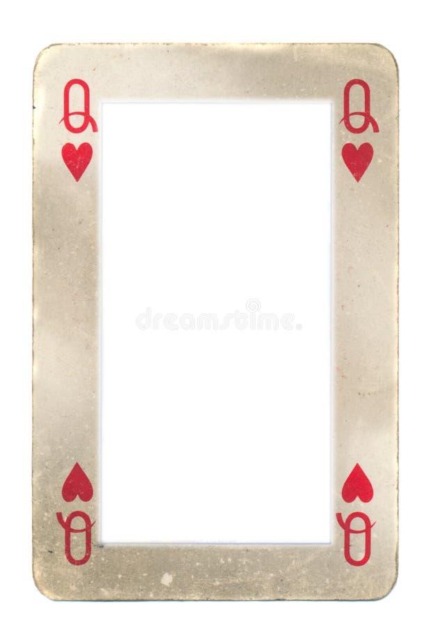 Document kader van koningin van hartenspeelkaart stock foto