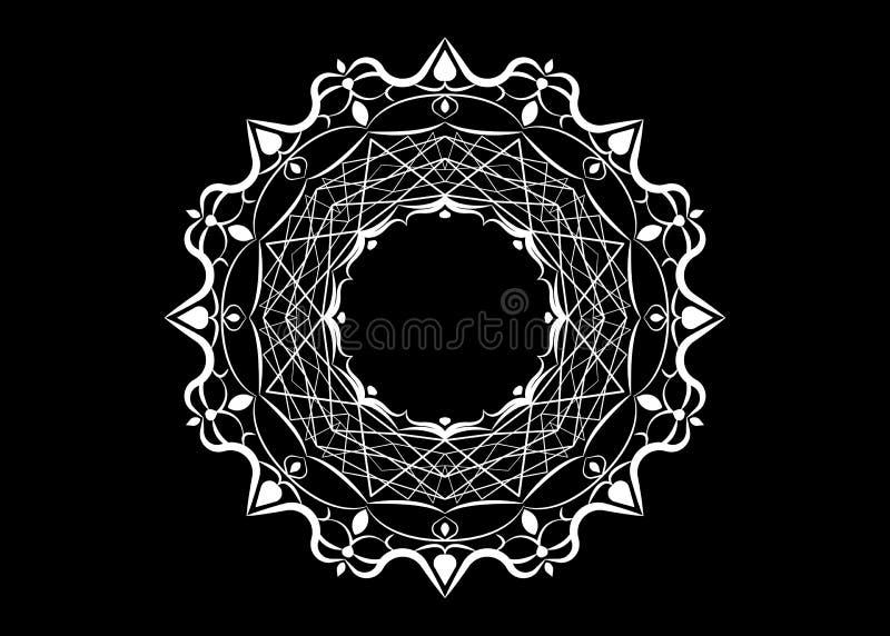 Document kantdoily Laser scherpe mandala Wit silhouetornament abstract patroon in vector Rond rooster Vectormalplaatje voor docum royalty-vrije illustratie