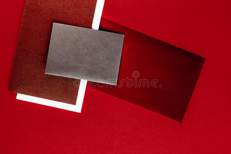 Document kantoorbehoeften voor ontwerp en het brandmerken, flatlay model royalty-vrije stock afbeelding