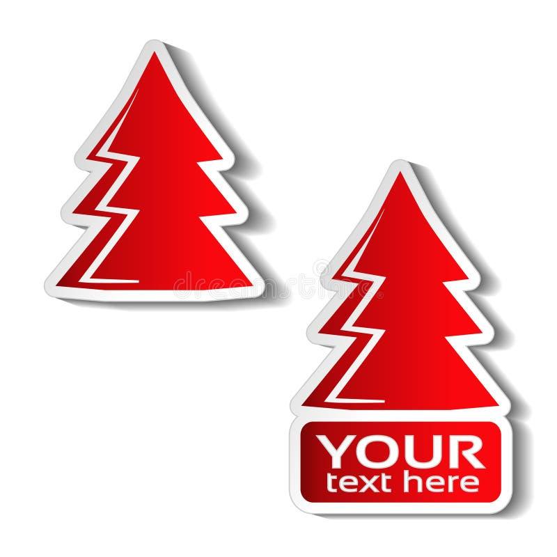 Document Kerstboom, rode sticker op de witte achtergrond Het etiket van de de winterverkoop voor uw tekst, Kerstmisaanbieding vector illustratie