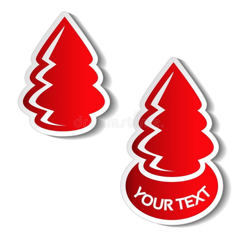 Document Kerstboom, rode sticker op de witte achtergrond Het etiket van de de winterverkoop voor uw tekst, Kerstmisaanbieding royalty-vrije illustratie