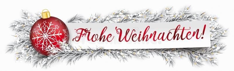 Document Kerstmis Frohe Weihnachten van Bannersnuisterij Bevroren Takjes royalty-vrije illustratie