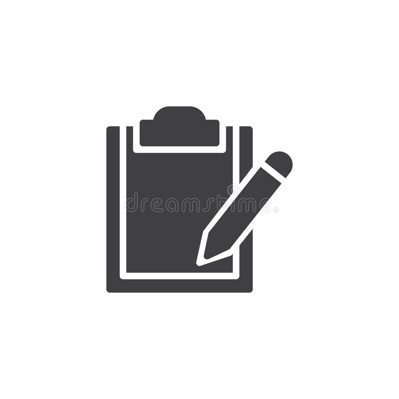 Document klembord en potlood vectorpictogram stock illustratie