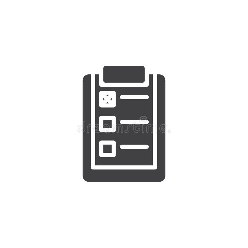 Document klembord met het vectorpictogram van de controlelijst vector illustratie