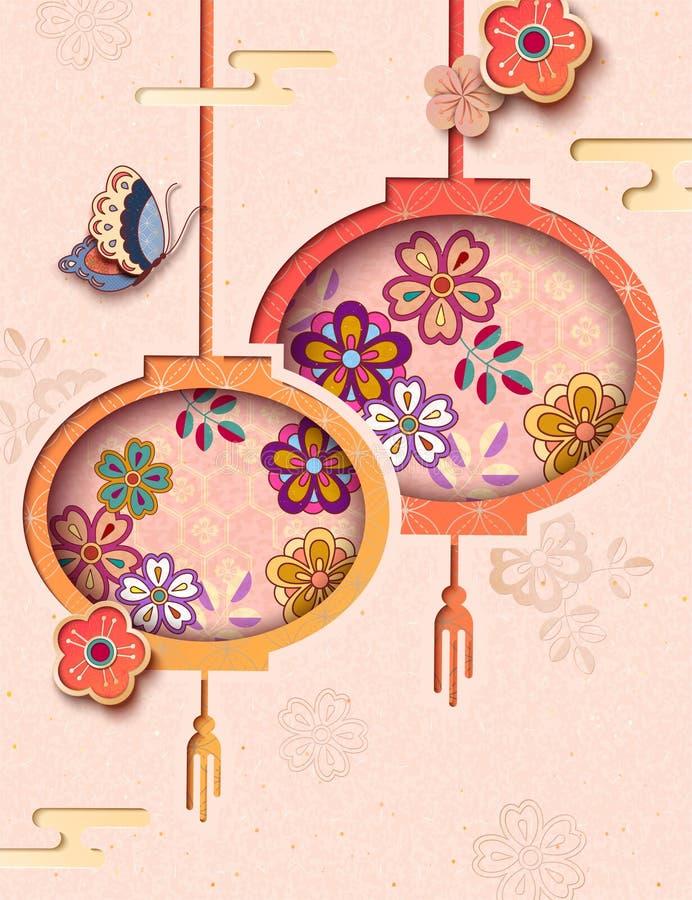 Document kunst die bloemenlantaarns hangen stock illustratie