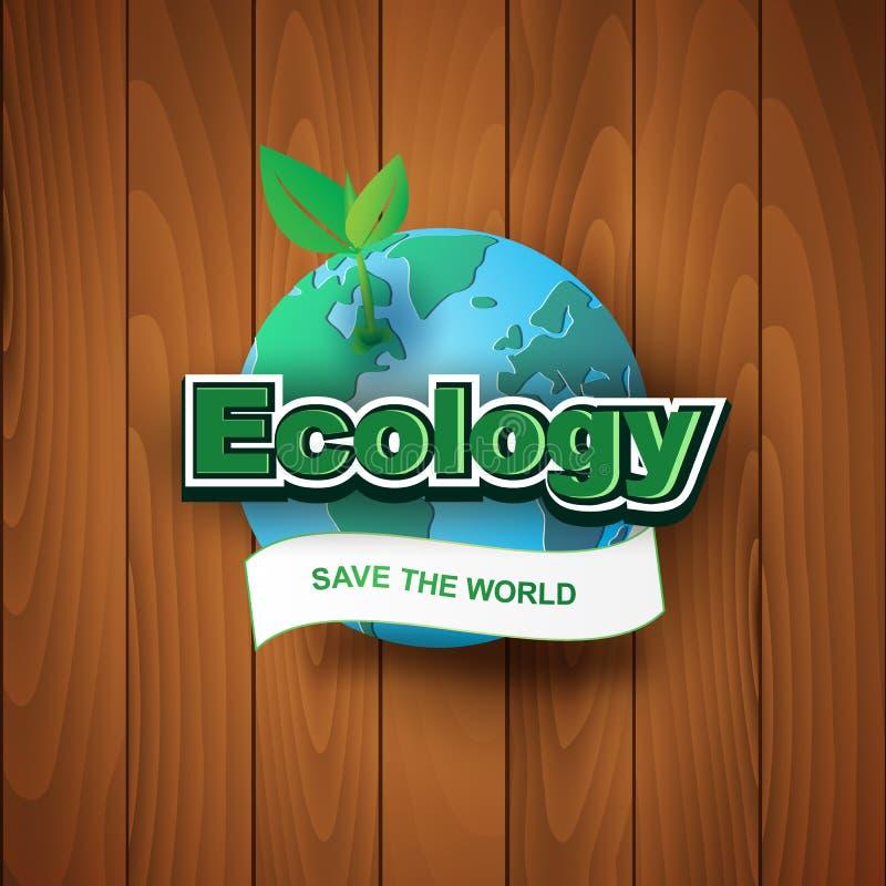 Document kunst en ambacht van Ecologie sparen het wereldetiket met Aarde o royalty-vrije illustratie