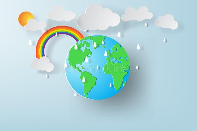 Document kunst van de dag van het Wereldmilieu met regenachtig seizoen stock illustratie