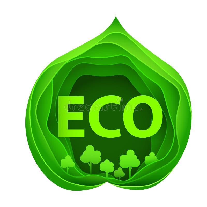 Document kunst van ecopark op groene bladvorm Origamiconcept en ecologieidee vector illustratie