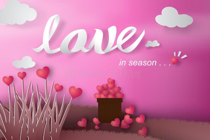 Document kunst van Gelukkige Valentine-dag met het concept van het boomhart, gras, v stock illustratie