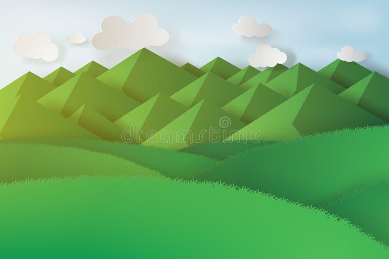 Document kunst van groene gras en bergen op een bewolkte hemel stock illustratie