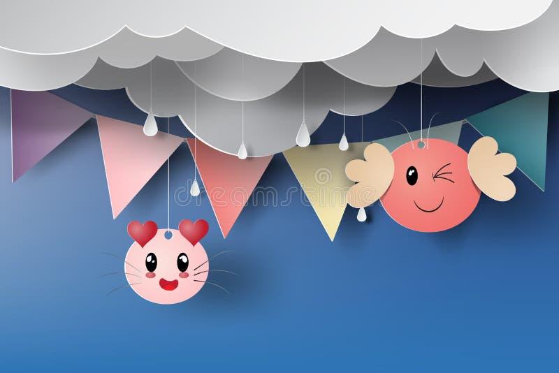 Document kunst van kattenbeeldverhaal met wimpelvlag op regenachtig seizoen vector illustratie