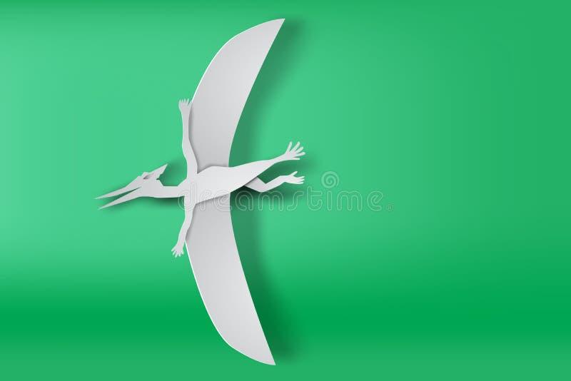 Document kunst van Pteranodon dinosour op groene vector als achtergrond stock illustratie