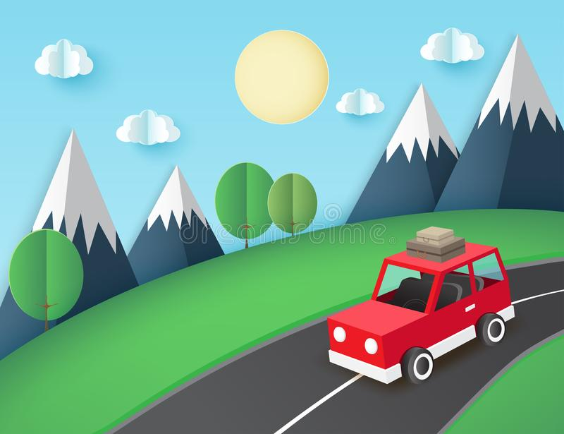 Document kunstachtergrond, rode auto met bagage op de weg stock illustratie