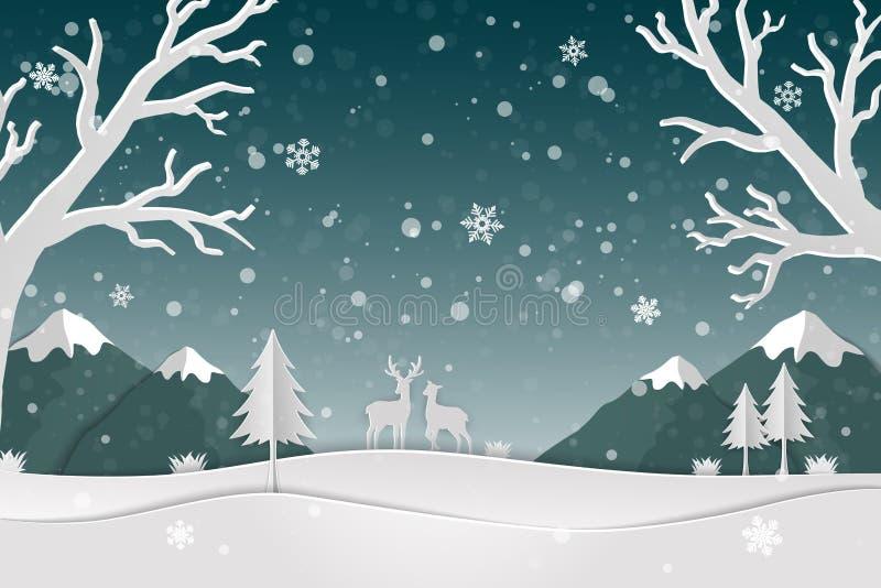 Document kunstlandschap met hertenfamilie en sneeuwvlokken in het bos vector illustratie