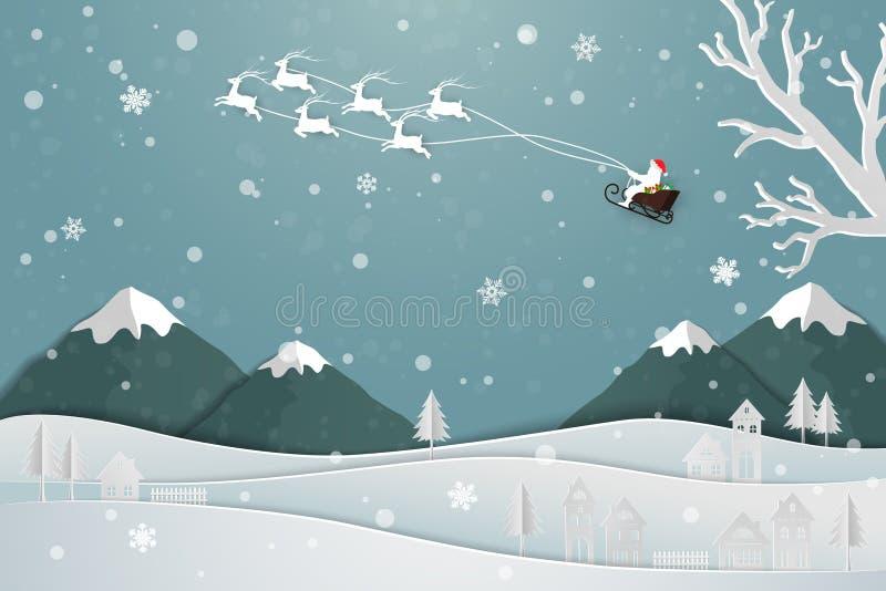 Document kunstontwerp met Santa Claus die over het dorp in wintertijd drijven vector illustratie